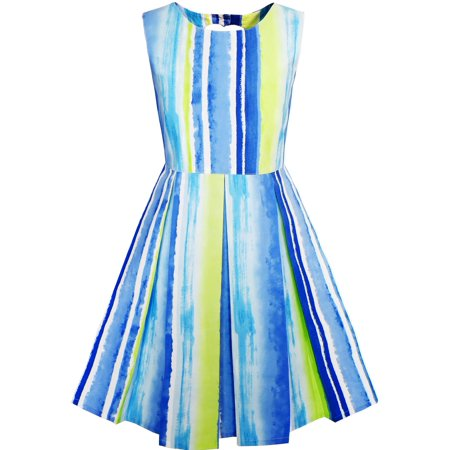 Girls Dress Striped Heart Shape Back Blue Party 4 - Blue Girls Dress
