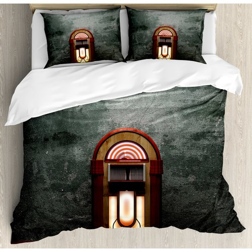 Ambesonne Jukebox Scary Movie Theme Old Abandoned Home with Antique Old Music Box IMage Duvet Set by Kozmos