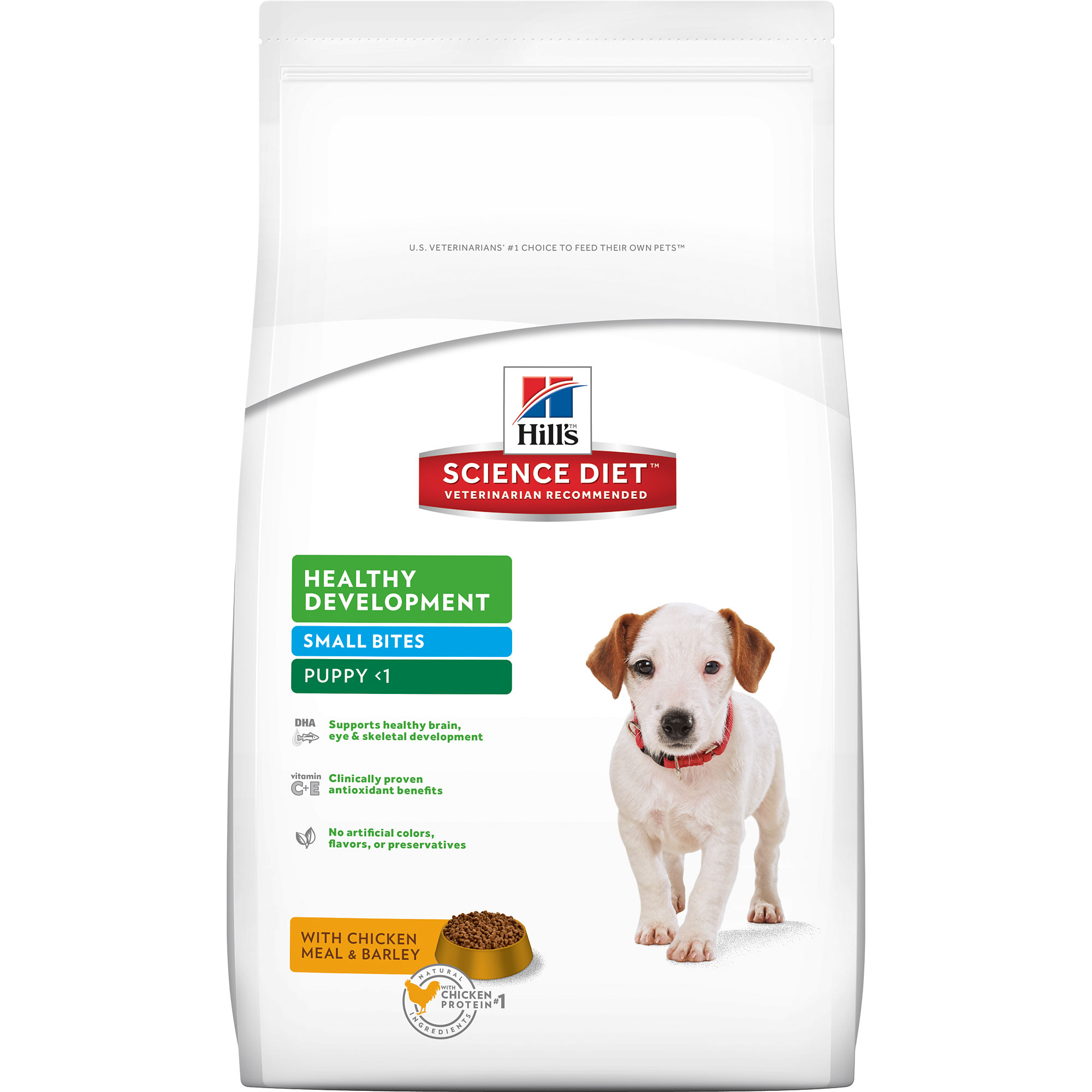 Hill's Science Diet Puppy Healthy Development Small Bites with Chicken Meal & Barley Dry Dog Food, 15.5 lb bag