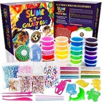 Slime Kit 24 Color 2018 with Galaxy Egg include Crystal Slime Containers, Fruit Slime, Glitter, Straws, Fruit Slices,Foam Beads