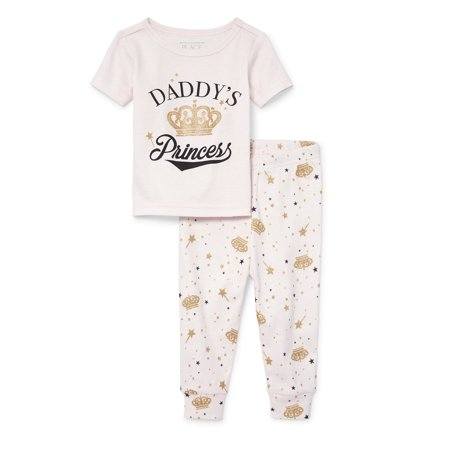 Baby And Toddler Girls 'Daddy's Princess' Top And Bottoms Snug-Fit PJ Set (Baby and Toddler Girls) (Princess And Baby)