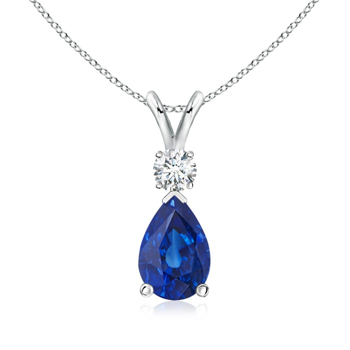 Pear Blue Sapphire Teardrop Pendant Necklace with Diamond in Platinum (9x6mm Blue Sapphire) by Angara.com