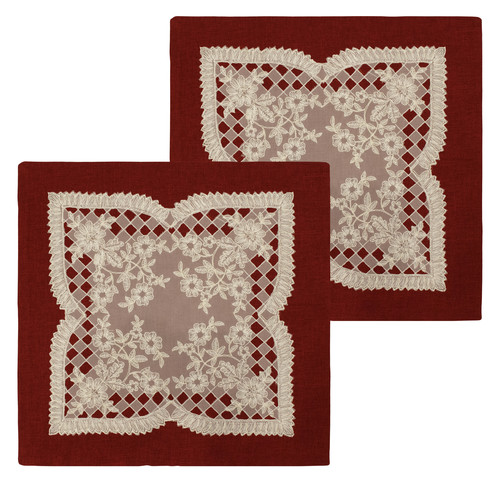 """Caisey 18"""" x 18"""" Lace and Embroidery Applique Pillow Covers, Set of 2"""