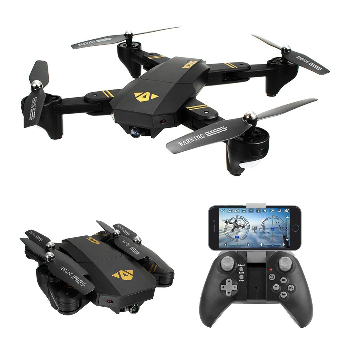 VISUO XS809W Wifi FPV 0.3MP Camera Foldable 2.4G 6-Axis Gyro Selfie Drone RC Quadcopter... by