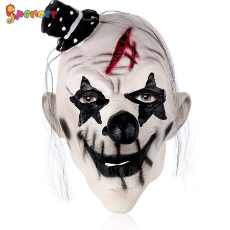 Really Scary Halloween Faces (Spencer Halloween Scary Clown Mask Full Face Evil Creepy Costume Cosplay Horror Latex)