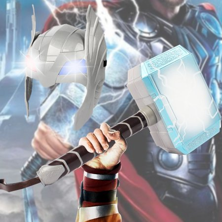 LED Glowing And Sounds Hammer LED Mask Helmet For Thor Action Figures Kids Cosplay Toys
