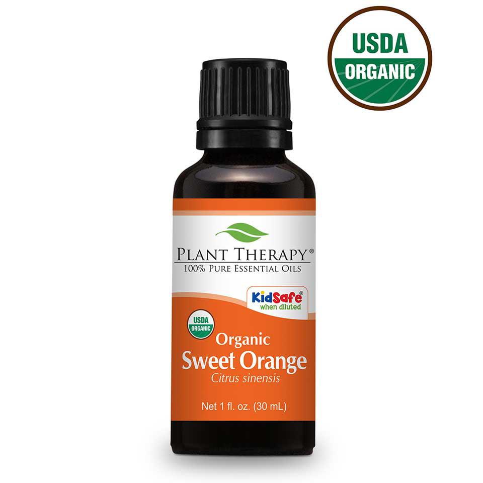Plant Therapy Organic Sweet Orange Essential Oil 30 mL (1 fl. oz.) 100% Pure, Undiluted, Therapeutic Grade