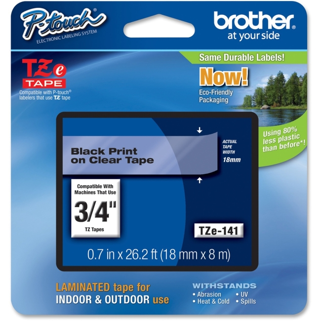 """Brother TZ Lettering Label Tape - 0.75"""" Width x 26.20 ft Length - Clear - 1 Each"""
