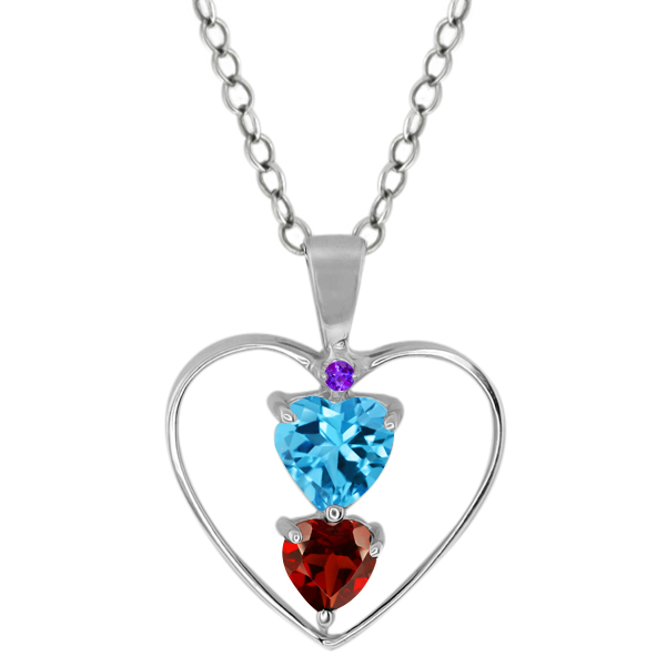 0.89 Ct Heart Shape Swiss Blue Topaz Red Garnet Sterling Silver Pendant
