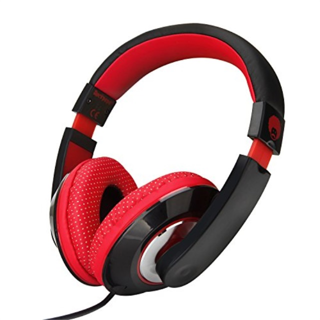 RockPapa Over Ear Stereo Headphones Earphones for Adults Kids Childs, Noise Isolating, Adjustable, Heavy Deep Bass for iPhone iPod iPad Macbook Surface MP3 DVD SmartPhones Laptop (Black/Red)