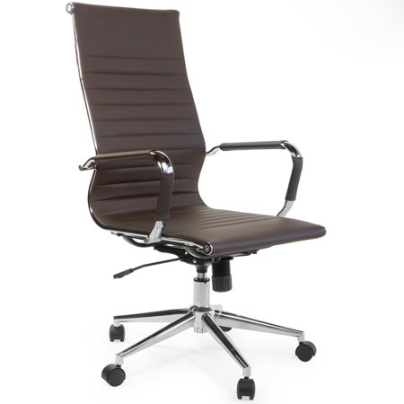 Upholstered Executive Office Chair (Barton High Back Adjustable Office Chair Ribbed Upholstered PU Leather Executive Desk Brown Modern w/ Wheels )