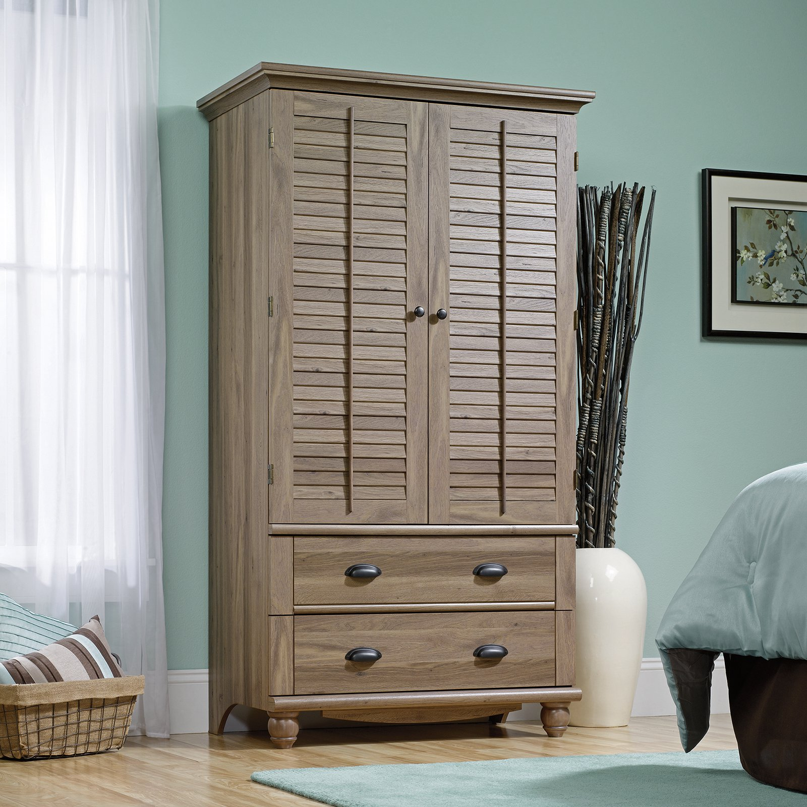 Harbor View Armoire Salt Oak by Sauder