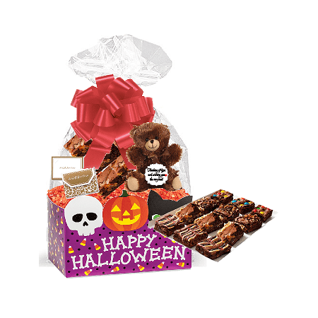 Happy Halloween Gourmet Food Gift Basket Chocolate Brownie Variety Gift Pack Box (Individually Wrapped) 12pack - Halloween Chocolate Brownies