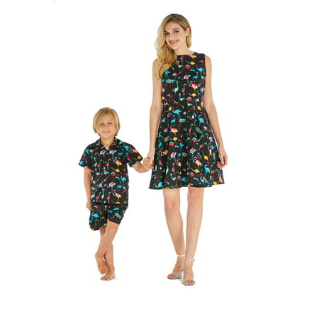 Matching Mother Son Hawaiian Luau Outfit Women Vintage Dress Boy Shirt Only Flamingo Party BlackM-14
