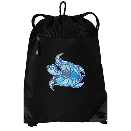 Sea Turtle Drawstring Bag TWO SECTION Turtle Cinch Pack Backpack - Unique Mesh & Microfiber - Cinch Backpack