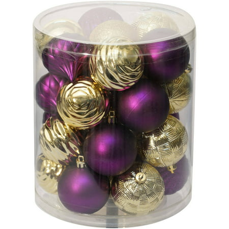 holiday time christmas ornaments traditional 60mm shatterproof set of 26 purple gold - Purple And Gold Christmas Decorations