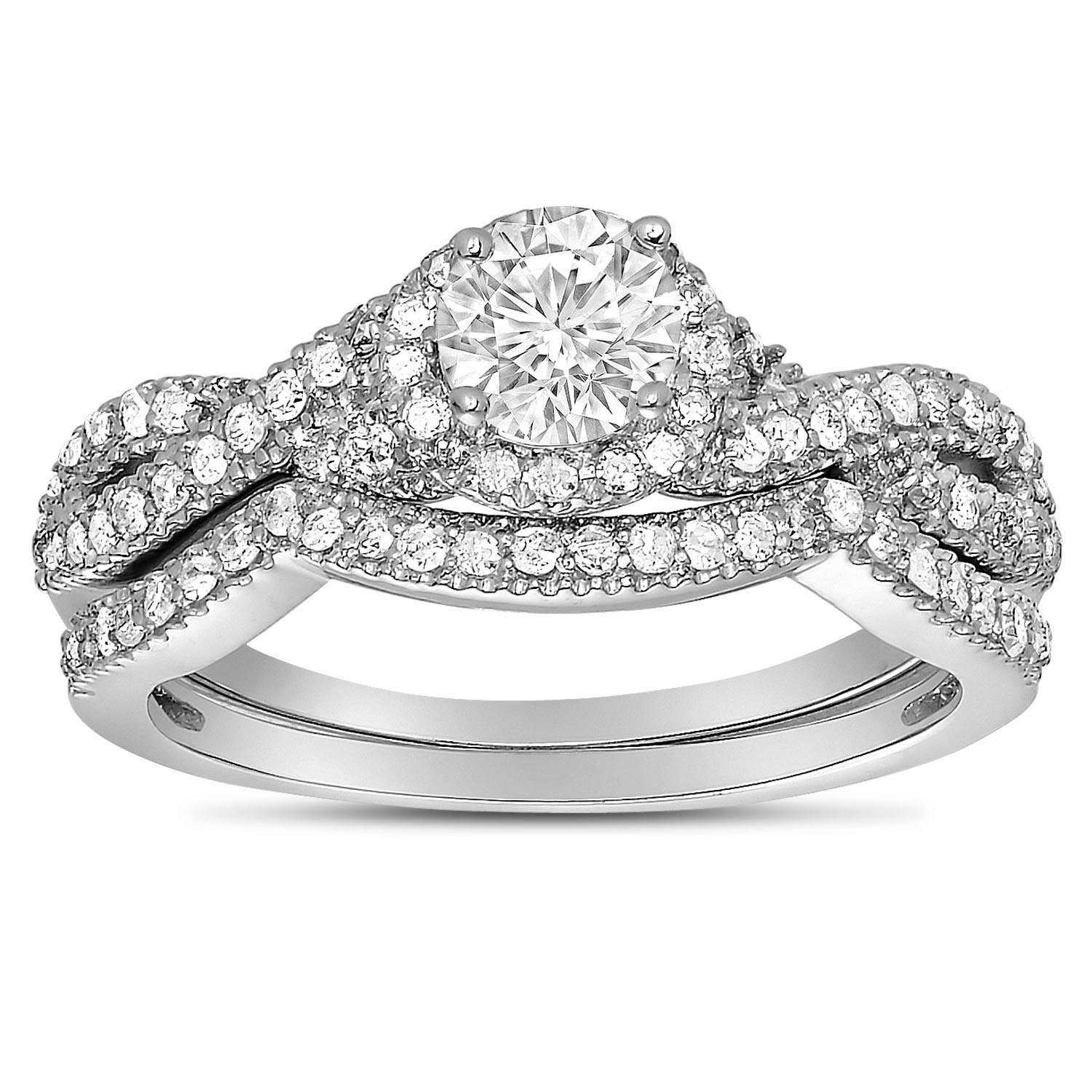 2 carat round diamond infinity wedding ring set in white gold for her walmartcom - Walmart Wedding Ring Sets