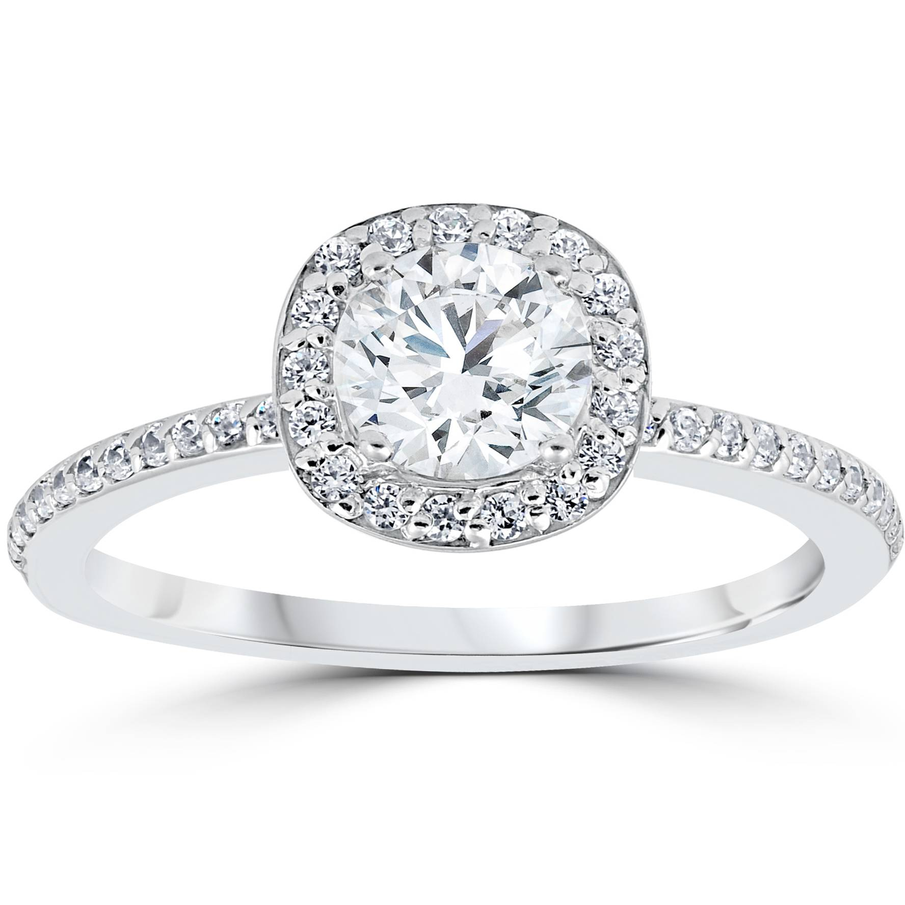 1ct engagement ring cushion halo vintage solitaire