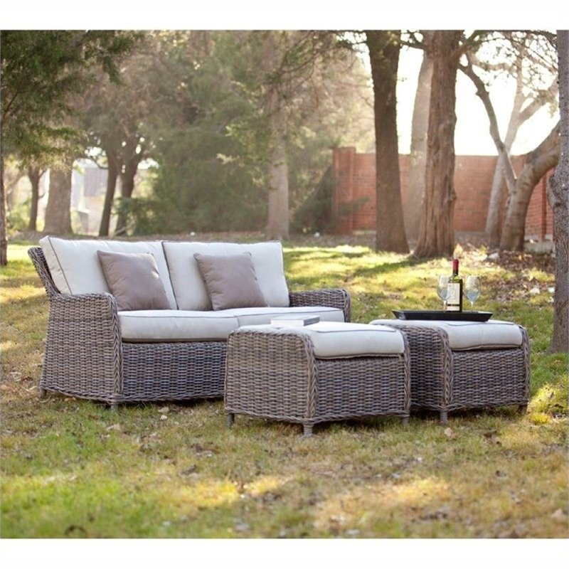 Pemberly Row 3 Piece Outdoor Sofa Set in Gray and Beige