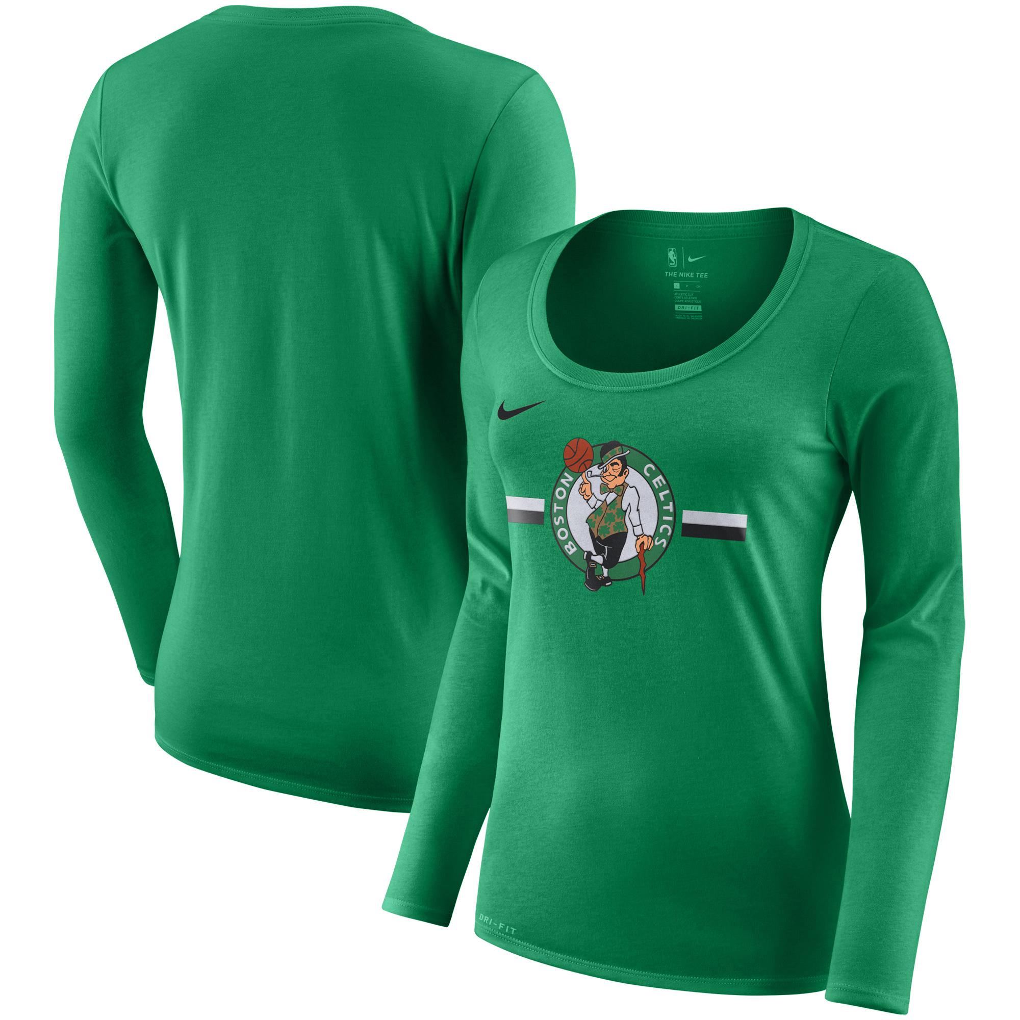 Boston Celtics Nike Women's Essential Logo Performance Long Sleeve T-Shirt - Kelly Green