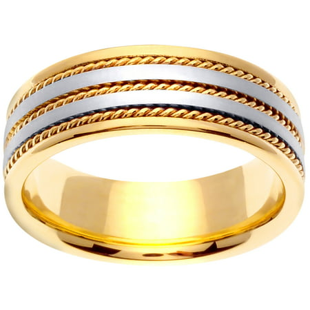 14K Two Tone Gold Rope Edge Braid Handmade Comfort Fit Women