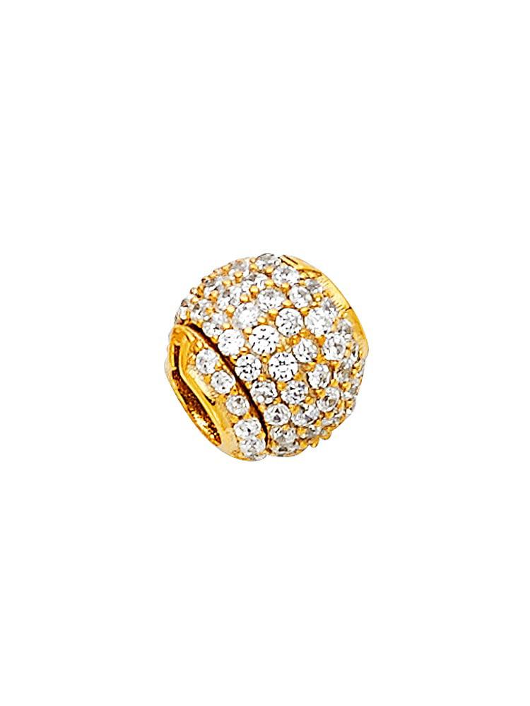 Bead Charm Pendant Solid 14k Yellow Gold Ball CZ Round Sphere Diamond Cut Polished Finish Fancy