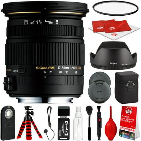 Sigma 17-50mm F2.8 EX DC OS HSM Lens for Nikon DSLR Cameras w/ Pro Photo and Travel