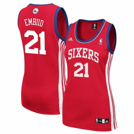 Custom Replica Away Jersey - Joel Embiid Philadelphia 76ers NBA Adidas Women's Red Replica Jersey