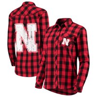 Nebraska Cornhuskers Women's Essential Flannel Button-Down Long Sleeve Shirt - Scarlet