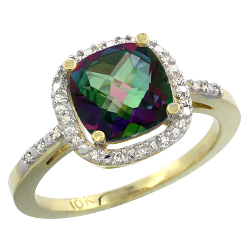 10K Yellow Gold Natural Mystic Topaz Ring Cushion-cut 8x8mm Diamond Accent, sizes 5-10 by WorldJewels