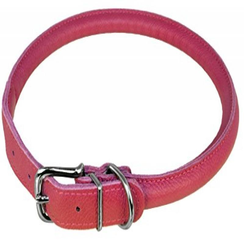 "Dogline Round Leather Collar W3/8"" -   L16""-19"", Pink"