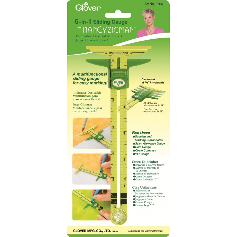 Clover 5 In 1 Sliding Gauge with Nancy Zieman Multi-Colored
