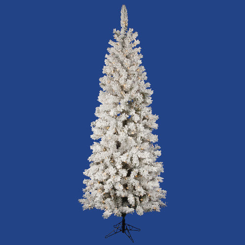 Vickerman Flocked Pacific Pine 6.5' White Artificial Pencil Christmas Tree with 225 LED Lights with Stand