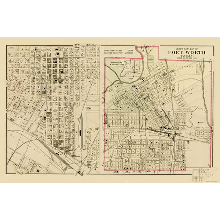 Old City Map - Ft. Worth Texas Landowner - Gray 1885 - 23 x 34.71