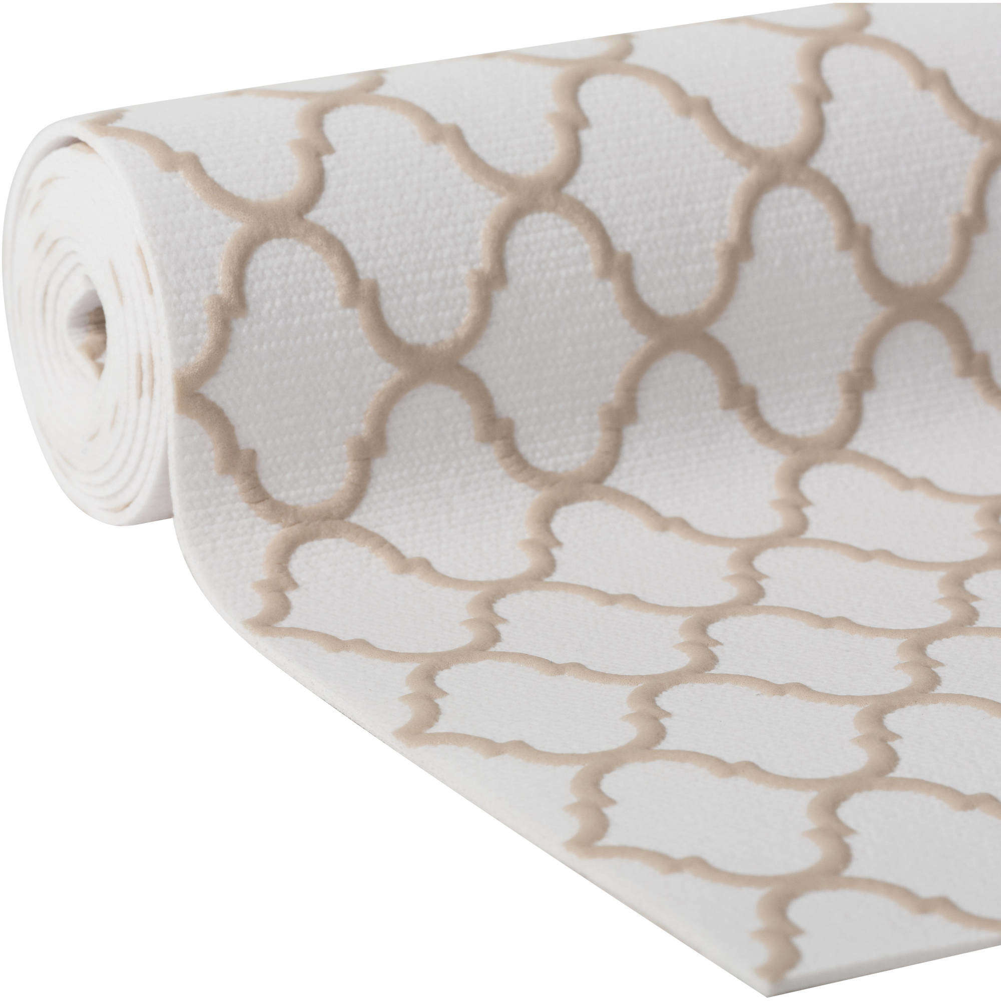 "Duck Brand Embossed Solid Grip Easy Liner Brand Shelf Liner, Taupe Quatrefoil, 20"" x 4'"