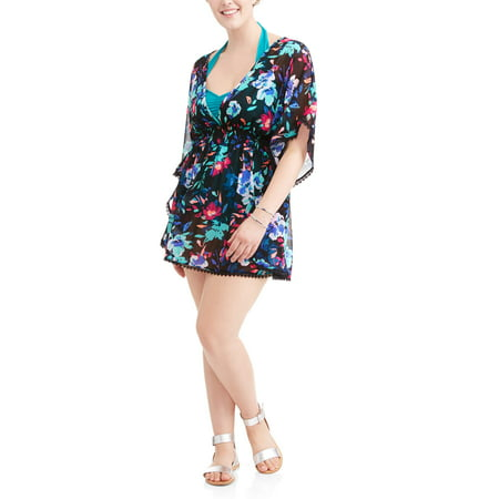 d6afe8094cbee Time and Tru - Women s Plus-Size Open Back Printed Chiffon Swim ...
