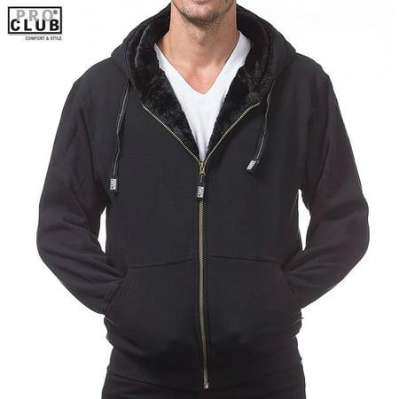 Pro Club Men's Heavy Weight Pile Full Zip Jacket Fur Hoodie Black