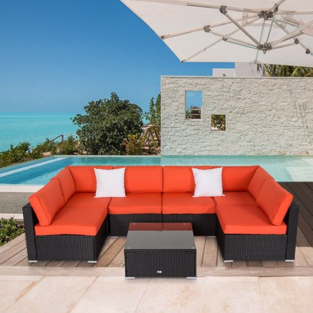 Kinbor 7pcs Outdoor Patio Furniture Sectional Pe Rattan Wicker Rattan Sofa Set with Orange Cushions ()