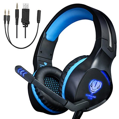Xbox One Headset,Gaming Headset for PS4 PC Mobile Phone,3.5 mm Gaming Headset LED Light Over-Ear Headphones with Volume
