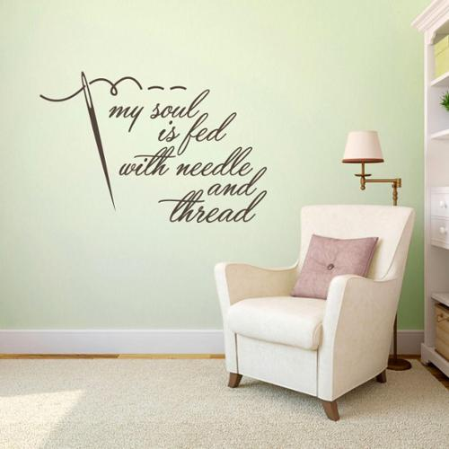 """Sweetums Needle and Thread Sewing Wall Decal - 24"""" wide x 16"""" tall"""
