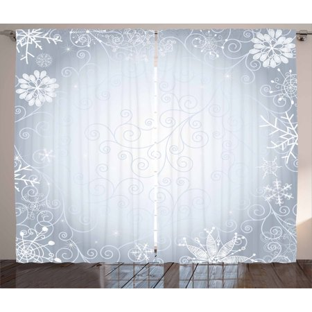 Silver Curtains 2 Panels Set, Christmas Theme Gentle Frame with Curls Swirls Snowflakes Lace Inspired Motif, Window Drapes for Living Room Bedroom, 108W X 108L Inches, Pale Grey Silver, by Ambesonne (Tiffany Inspired Snowflake)