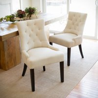 Noble House Abigail Tufted Fabric Dining/ Accent Chair (Set of 2) Color Beige