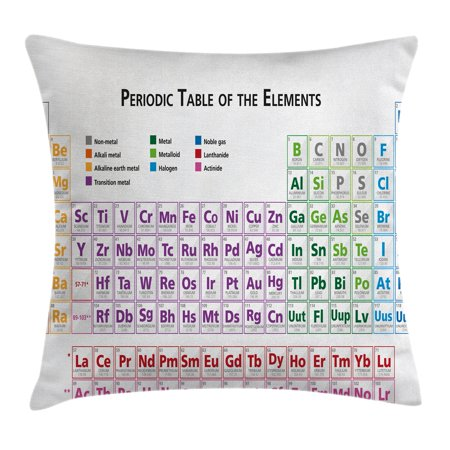 Science Throw Pillow Cushion Cover, Chemistry Primary School Students Geek Nerd Lessons Classes Smart Kids Art Print, Decorative Square Accent Pillow Case, 16 X 16 Inches, Multicolor, by Ambesonne - Nerd Classes