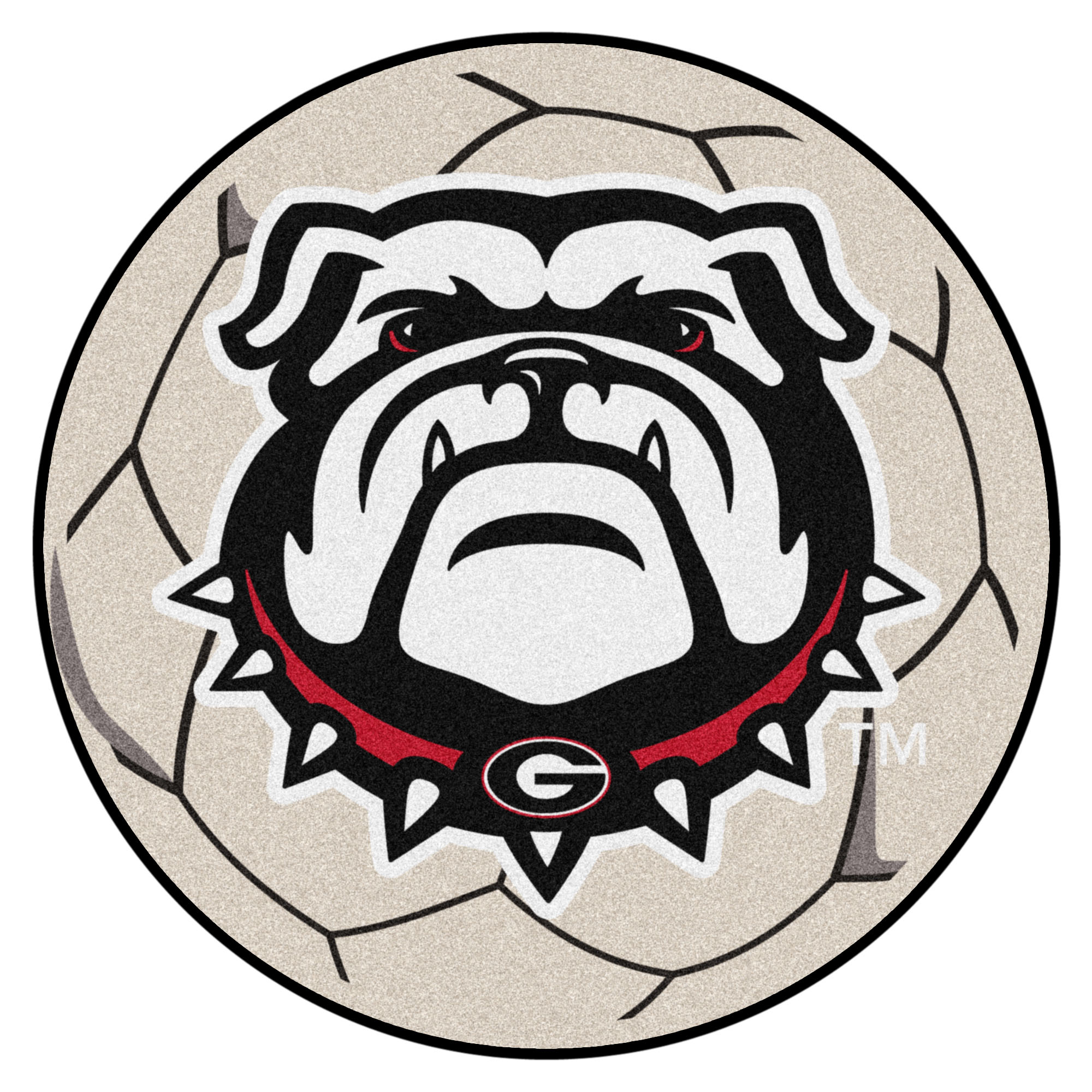 "Georgia Black New Bulldog Soccer Ball Mat 27"" diameter"