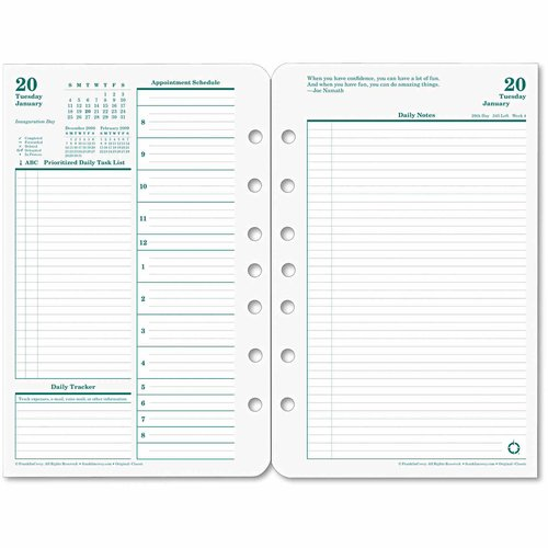 FranklinCovey Original Dated Daily Planner Refill, January-December, 5 1/2 x 8 1/2, 2017