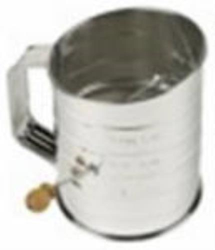 3 Cup Flour Sifter Durable Bright Steel With Scoop Edge & Side Crank by