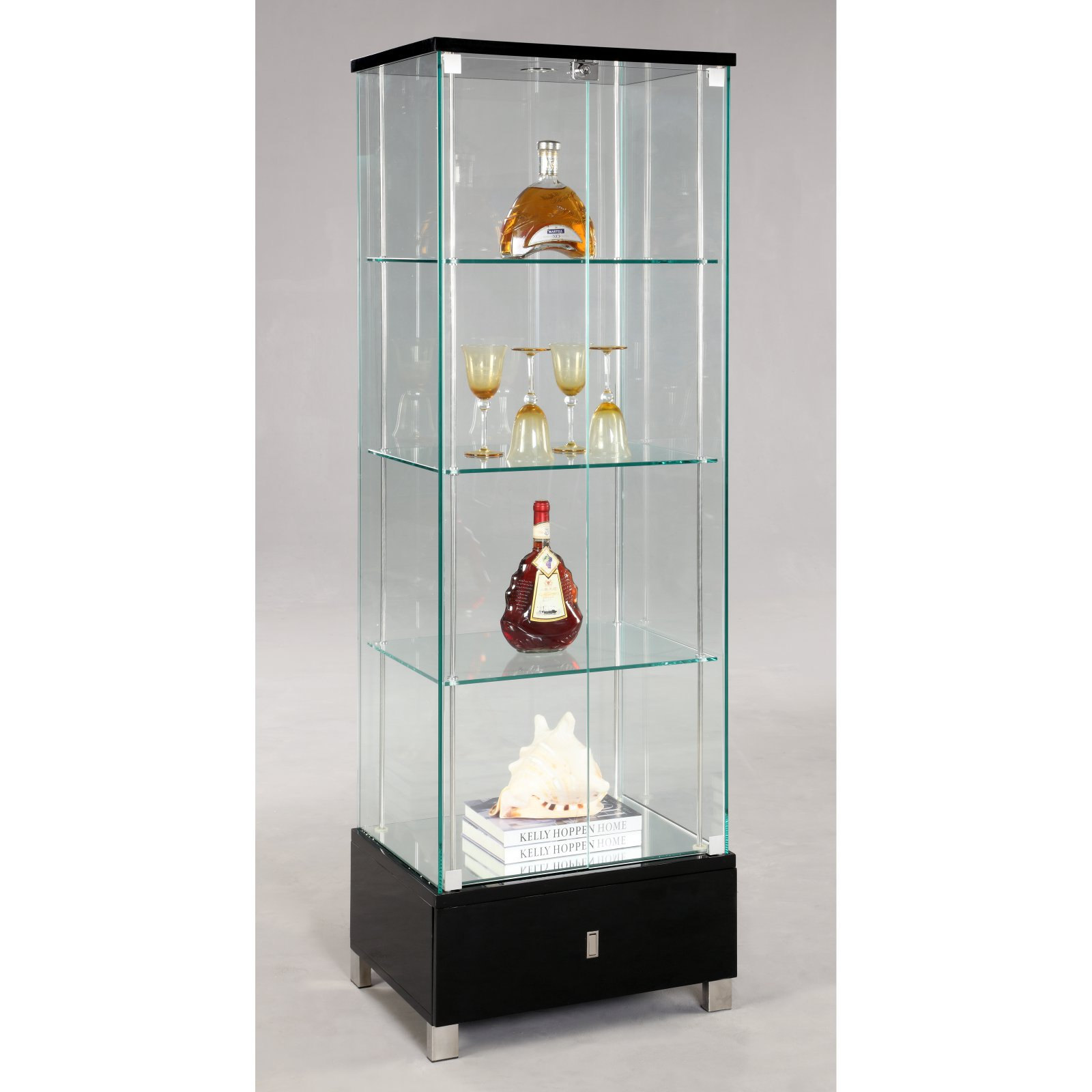 Chintaly London Glass Curio Cabinet   Black
