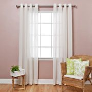 Best Home Fashion Faux Flax Linen Grommet Top Curtain