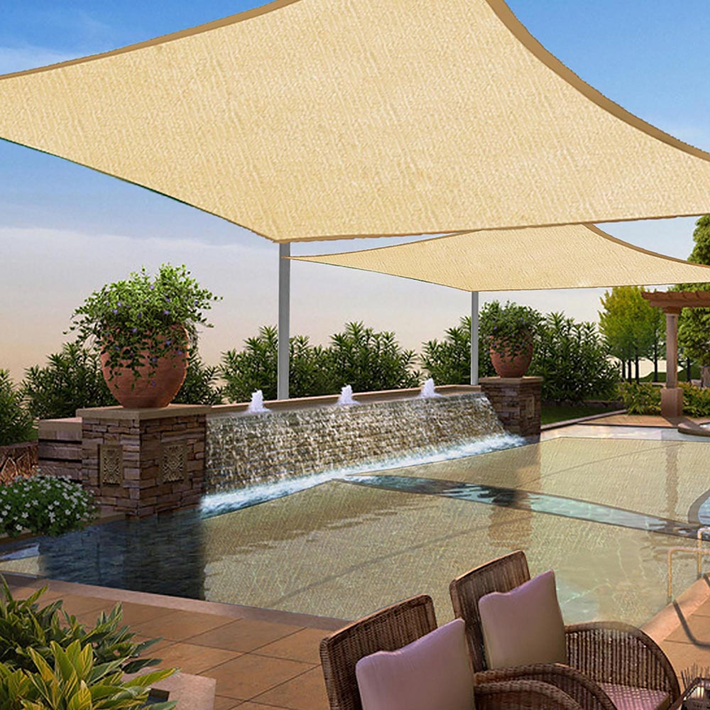 2 Set 13x10FT Outdoor Patio Rectangle Sun Sail Shade Cover Canopy Top  Shelter