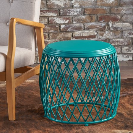 Noble House Finley Indoor 19 Inch Diameter Lattice Iron Side Table, Matte Teal